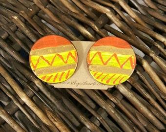 Handpainted earrings, wooden earrings, stud earrings, statement earrings, tribal earrings