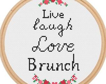 Live Laugh Love Brunch Cross Stitch Pattern