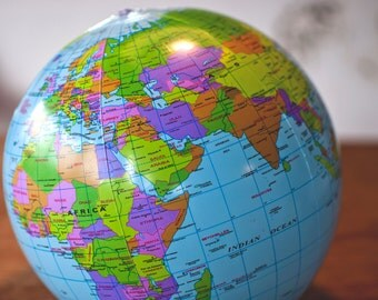 Children inflatable terrestrial globe . Teaching materials.