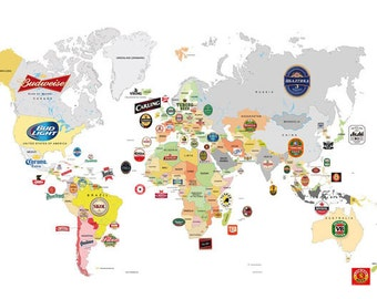 Beer world map etsy large print world map beer art print digitalloftbeerswhite gumiabroncs Gallery