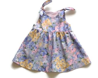 BABY DRESS //blue floral // size 3m 6m 12m 18m 2T// cotton clothing // toddler //summer girl clothing