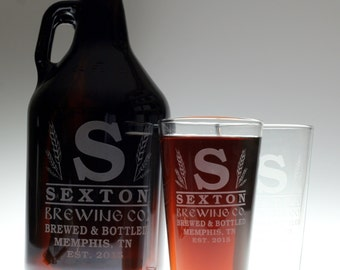 HomeBrew Growler and Glass/es with  Large Initial and Wheat Design. Homebrew, Beer, Beer Gift, , Beer Glass, fathers day gift,custom pint