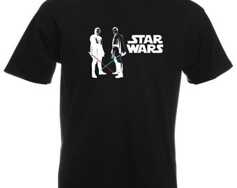 Mens T-Shirt Star Wars / Obi Wan Kenobi & Anakin Skywalker with Lightsaber Shirts / Young Jedi knight Ready for Battle + Free Decal Gift!