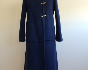 Pauline Trigere vintage cobalt blue wool coat with gold clasps for Martha store