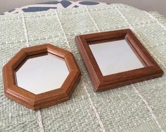 Vintage Wood Mirrored Frames