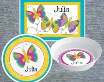Kids Melamine Plate, Placemat and Bowl Personalized Butterfly Dish Set, Melamine Kids Dinnerware, Kids Custom Meal Time Set - Butterflies