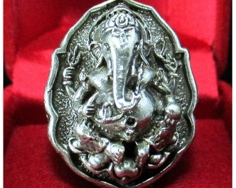Size.11 Ganesha Ganesh Bronze Ring  Hindu God Amulet Lucky Success