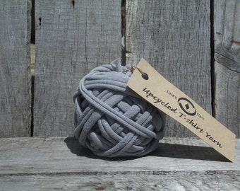 Upcycled Tshirt Yarn Grey ~ 19.5 Yrds