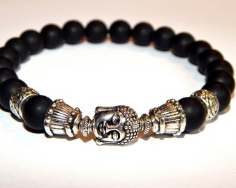 Men Bracelet agate stones in black and silver antique ethnic style