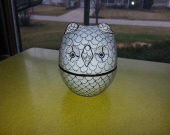 Vintage 1960s Black and White Enamel Owl Trinkit Box CUTE!