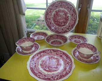 "Antique Set of NINE Piece 1890s Mason's ""Country Scene"" Pink Transferware Ironstone Dishes"