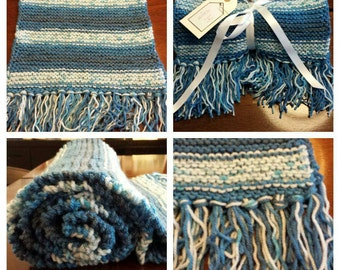 Blue scarf Hand knitted chunky scarf in mixed blues and white knitted scarf hand knitted scarf