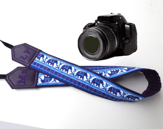 Lucky Me camera strap. Custom Camera Strap .Dark purple Elephant camera strap. DSLR Camera Strap. For Fuji Nikon Canon Sony & other cameras.