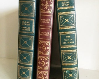 Mid Century Beautifully Bound Classic Literature Books, Set of 3