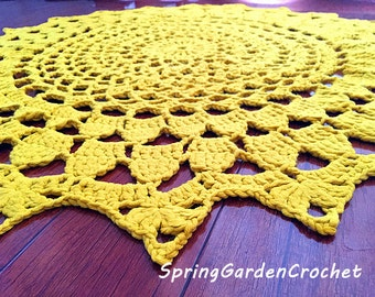 Father's day gift/Crochet ginger Lace Floor Rug/Doily Lace Rug Carpet/Floor Mat/Lace Area Rug/Nursery Rug