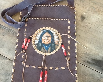 Sitting Bull Indian Chief Leather Medicine/Satchel Bag - Handmade, Hand-painted