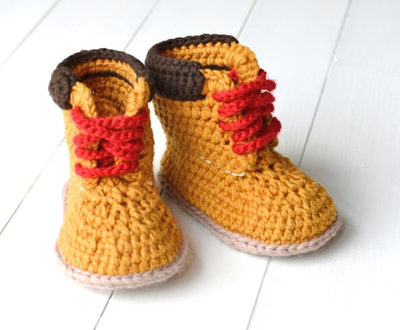 CROCHET PATTERN Boots for Baby Boys Timberland Style Baby Boy