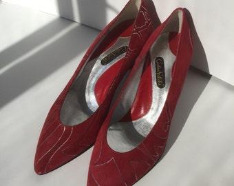 80's Carlos Falchi red suede pumps - NEVER WORN