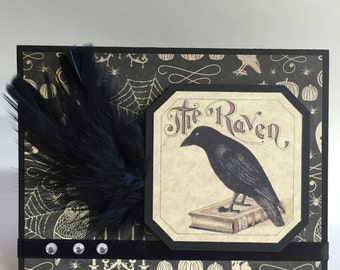 Handmade Greeting Card Halloween The Raven with Feathers