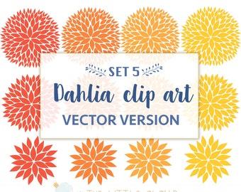 VECTOR  -Dahlia Flower Clip Art  SET 5 - Flower Blooms Dahlia ClipArt - fall floral clipart.