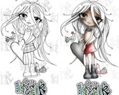 Oddella Ickyink Heart Black and white Digital Stamp