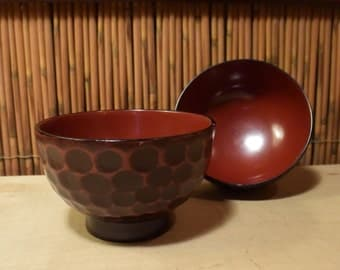 Vintage Japanese Wooden Lacquer Rice Bowl Set of 2