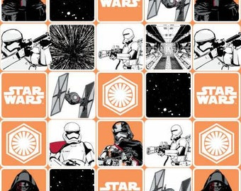Orange Star Wars, The Force Awakens Grid Cotton Fabric