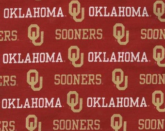 Oklahoma Sooners 65/35 Poly Cotton Twill Fabric 58/59 Inches
