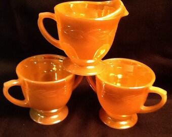 Vintage Fire King Peach Lustre Sugar Bowl & Creamer <> BONUS Saccharin Bowl <> Peach Lustre Laurel Design <> 1950's <> EXCELLENT CONDITION
