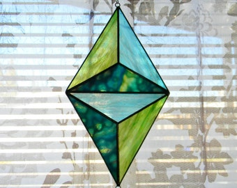 Geometric Stained Glass Suncatcher in Turquoise and  Iridescent Green