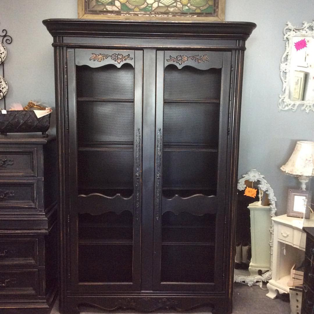 Breathtaking Black Distressed Vintage Metal Grated China Cabinet Armoire Curio French Country