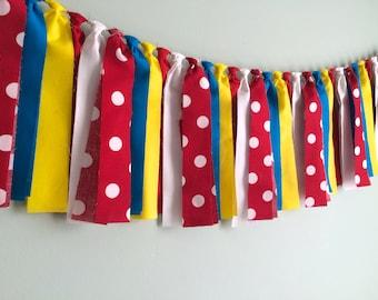 Circus Rag Tie Garland, Banner, Bunting, Backdrop, Swag, Streamer, Cake Smash, Photo Prop