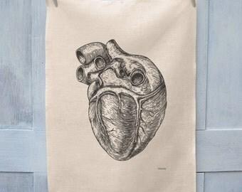 Anatomical Heart Illustration Tea Towel