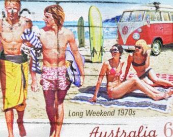 Australian Long Weekend 1970s Beach Surf Postage Stamp - Canvas Art - Art Print - Print - Wall Art