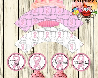 Printable  Breast Cancer Survivor Cupcake wrappers and  Toppers