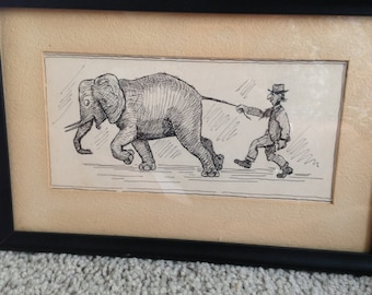 Original Ink Rendering of an Old Man Being Pulled by an Elephant's Tail