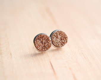 Rose Gold Druzy Earrings - Brown Druzy Earrings - Tan Druzy Earrings - Post earrings - Druzy studs - Sparkle earrings  Post Druzy