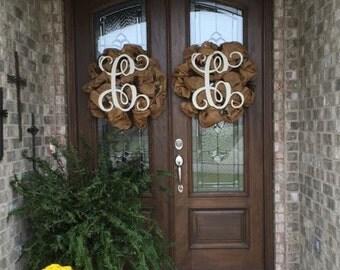 Deco Mesh Monogram Wreath, Monogram Wreath, Door Wreath