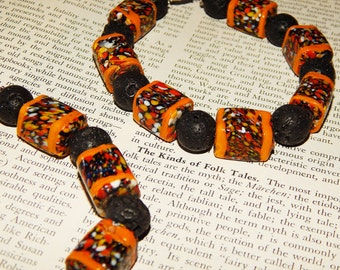 Voodoo Priestess AFRICAN GLASS Trade Bead & Genuine LAVA Bead Bracelet - Large Beaded Black and Orange Glass Bracelet - Gemstone Bracelet