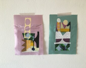 Fabric collage sampler pair No.3952
