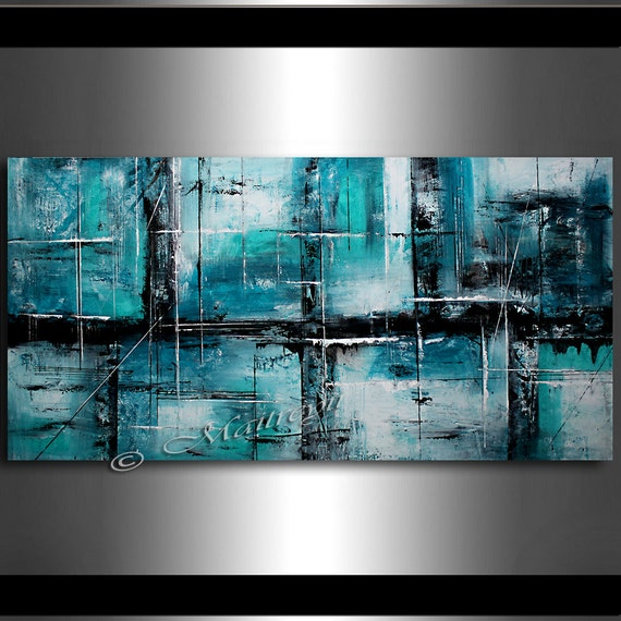 Original painting teal abstract art teal home by largeartwork for Peinture acrylique sur toile