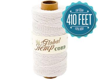 Global Hemp White Polished Hemp Cord - 1 mm - 410 Feet