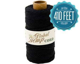 Global Hemp Black Polished Hemp Cord - 1 mm - 410 Feet