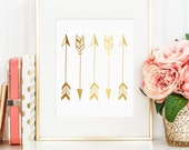 Gold arrow print, tribal print with gold foil art great decor in home, vertical arrow printable, gold tribal wall hanging, bedroom decor