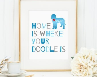 Goldendoodle art, Labradoodle dog print, personalized dog art print for your doodle, Golden doodle dog wall art, gift for dog owners