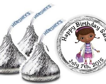 108 Doc McStuffin Personalized Birthday Hershey Kiss Candy Label Wrapper Favors Stickers