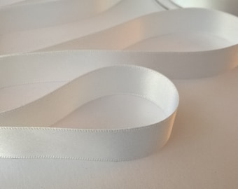 10mm White Double Sided Satin Ribbon