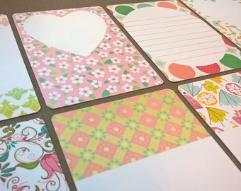 16 Printed Journalling cards: 8 Pastels + 8 Random