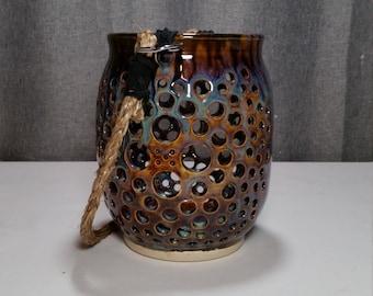 Made To Order 7-12 Business Days** Ceramic Lantern, Stoneware Lantern, Decorative Lantern, Honey Blue