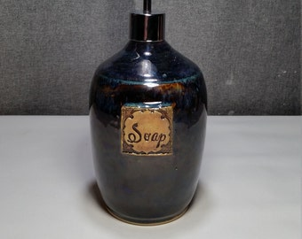 Made to order** Ceramic Soap Dispenser Handmade Pottery Lotion Dispenser Pottery for Kitchen and Bath - Metallic Blue
